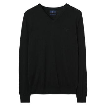 Gant - Gant - Fine Merino V-neck | Strik Sort