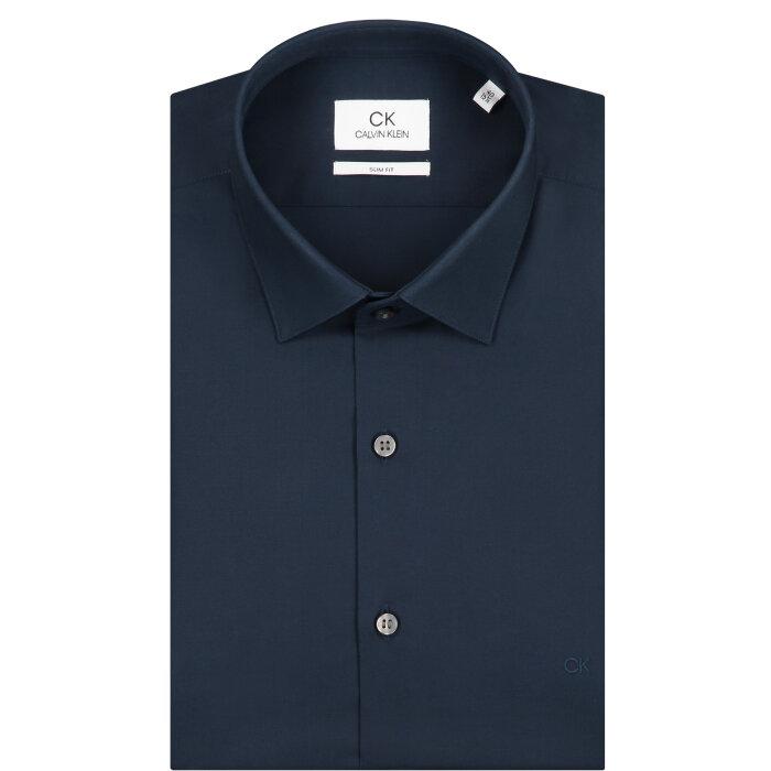 Calvin Klein  - Calvin Klein - 2 Ply Poplin Stretch   Slim Fit Skjorte Midnight Blue
