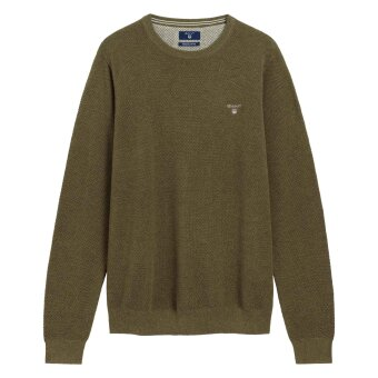 Gant -  Gant - Cotton Pique Crew | Strik Khaki Green Melange