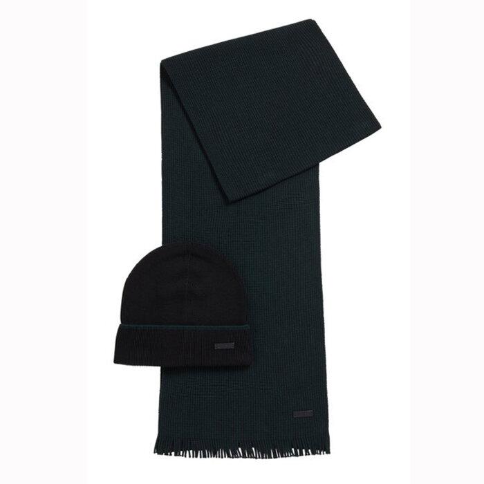 Hugo Boss - Hugo Boss - Hat & Scarf Set | Tørklæde & Hue Black