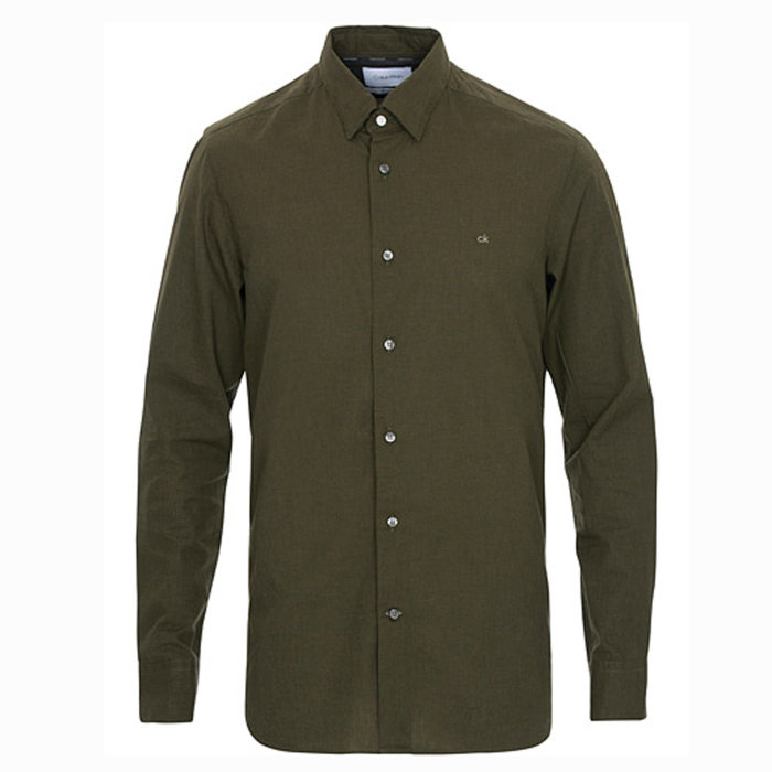 Calvin Klein  - Calvin Klein - Light Heather Poplin | Skjorte Olive