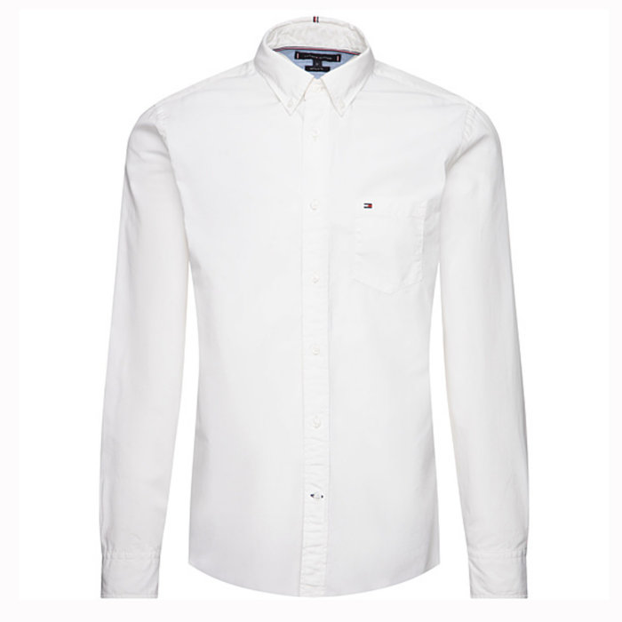 Tommy Hilfiger  - Tommy Hilfiger - Cotton Dobby   Skjorte Hvid