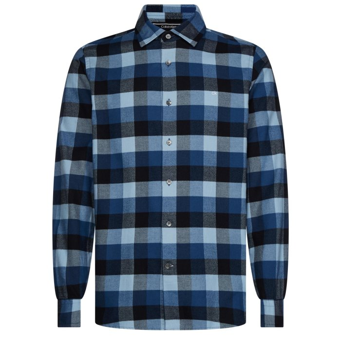 Calvin Klein  - Calvin Klein - Brushed Twill Check | Skjorte 0MD Block