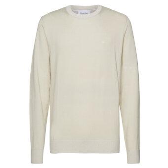 Calvin Klein  - Calvin Klein - Cotton Silk C Neck | Strik Bleached Stone