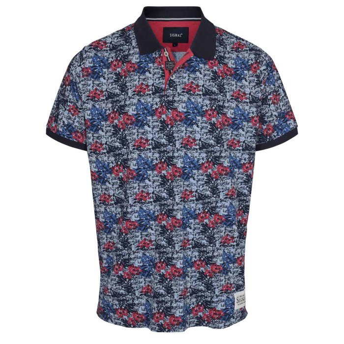 Signal - Signal - Benito Tropical Print | Polo T-shirt Scooter Red