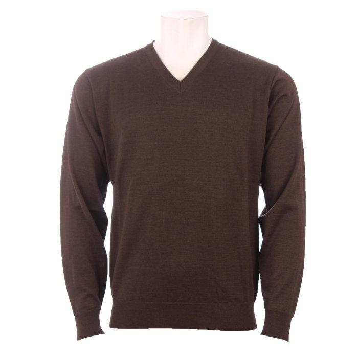 Cosby - Cosby - V-hals Pullover | Strik Dk. Brown