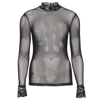 ICHI ( Dame ) - ICHI - XANISHA LS | Mesh Top 10001 BLACK