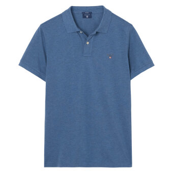 Gant - Gant - Solid Pique Rugger | Polo T-shirt Denim Blue Melange