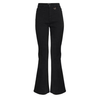 Pulz Jeans ( Dame )  - PULZ - PZLIVA | HIGHWAIST JEANS FLARED 200004 BLACK DENIM